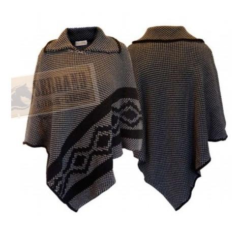 Pala Argentino Em Lã Tam. Unico Poncho Gaucho Cinza/preto