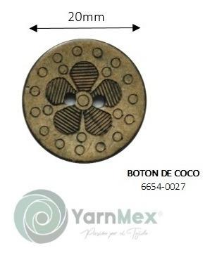 Botón De Coco | 6654-0027 - 50pzas