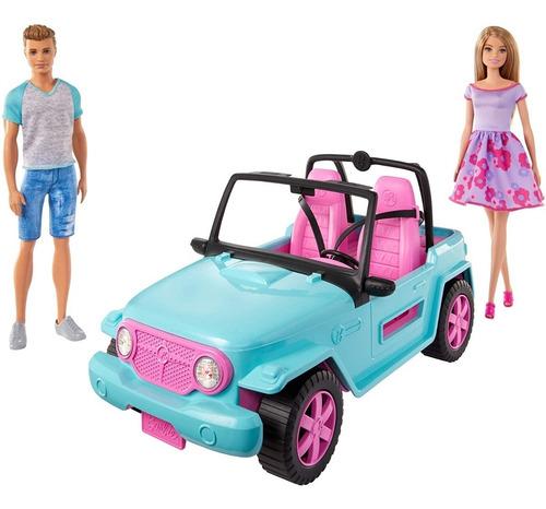 Barbie Jeep Carro Auto De Playa Con Barbie Y Ken Beach