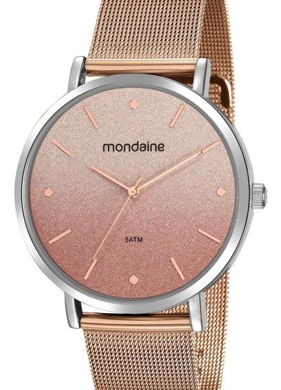 Relógio Mondaine Feminino Rose Gold E Prata Original