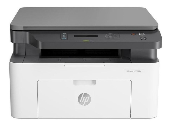 Impressora multifuncional HP LaserJet Pro M135W com Wi-Fi 110V - 127V branca e preta