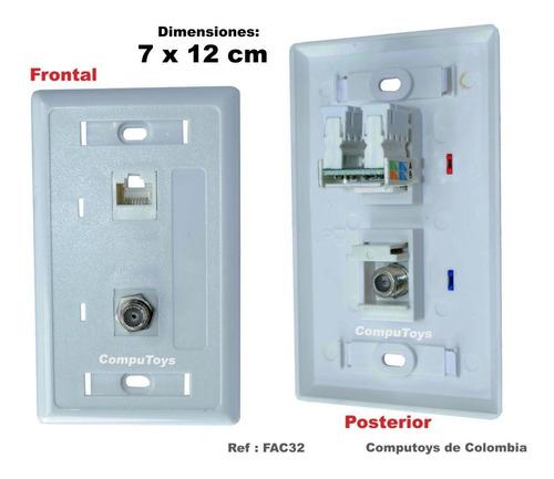Imagen 1 de 7 de Zfac32 Faceplate  Lan Rj-45+  Coaxial Qfac32q Compu-toys