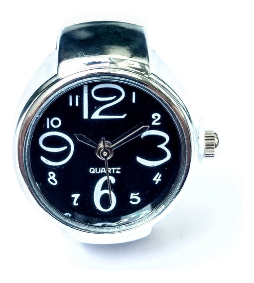 Anel Relógio Prata Preto Analógico Presente Unisex