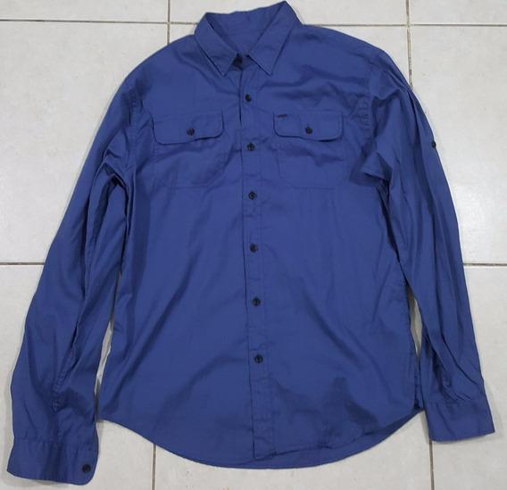 Camisa Hombre Gola Azul Lisa
