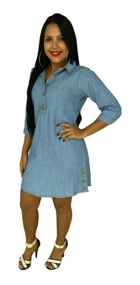 Roupas Femininas Moda Evangélica Vestido Jeans Chemisie 061