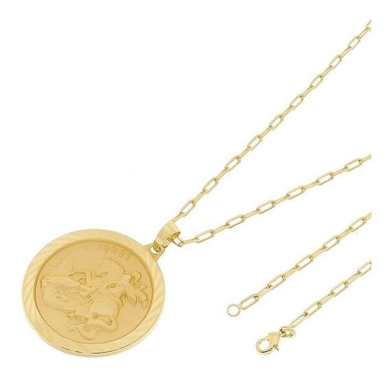 Medalha São Jorge Com Corrente Cartier Folheado A Ouro