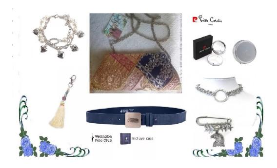 Lote: Cartera+cinto+collar+pulsera+llavero+broche+pastillero