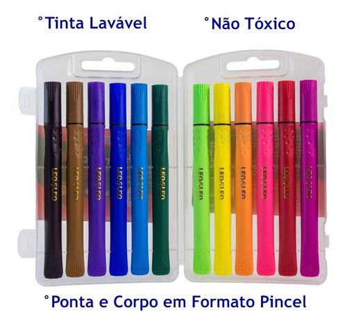 Estojo Com 12 Canetas Brush Pen Hidrográfica - Ponta Pincel