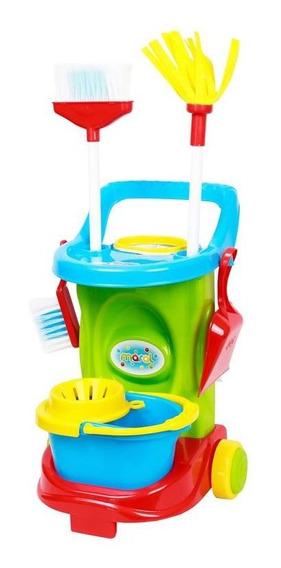 Brinquedos Carrinho Limpeza Cleaning Trolley Faz Conta Maral