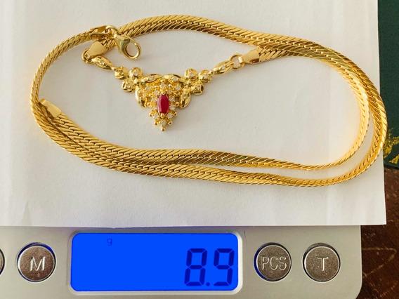 Colar Em Ouro 18k-8.9gr. C/diamantes.