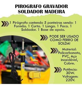 Pirografo Gravador Soldador Madeira Caneta Profissional Fio