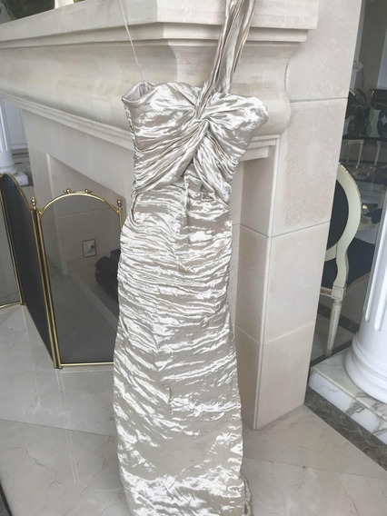 Hermoso Vestido Nicolle Miller Drapeado, Color Dorado Claro