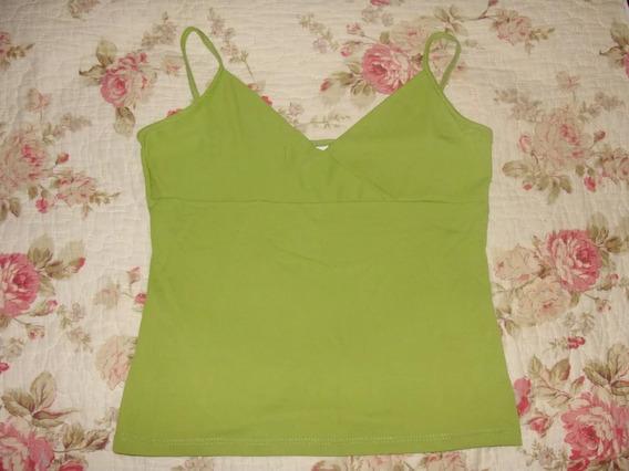 Remera Musculosa Corta Color Verde Escote V Talle M