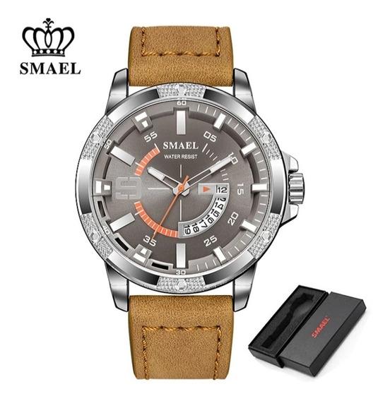 Relógio Masculino Smael Couro Light Brown S9100 Frete Gratis