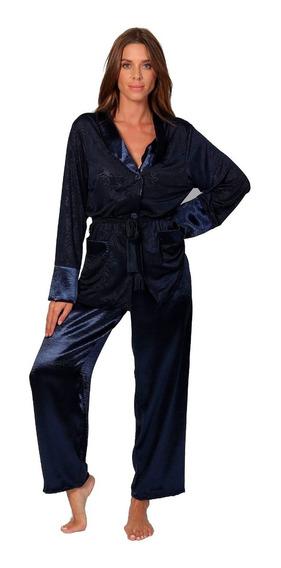 Pijama Bata Satinada Saco Pantalon Tacto Suave Sensual 7063