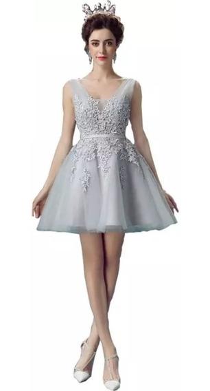 Vestido Fiesta Encaje Plata Entrega Inmediata