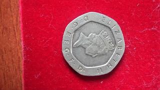 Moneda De 20 Pence-1993 Reina Elizabeth Ii Del Reino Unido