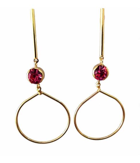 Brinco Grande Com Pedra Natural Rosa Folheado Em Ouro 18k