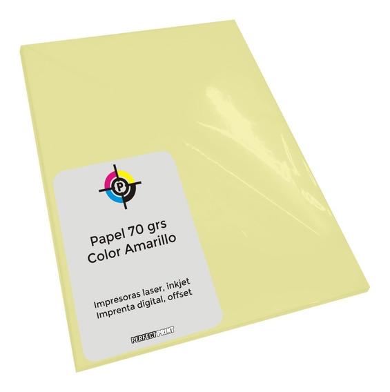 Papel Color Amarillo 70 Grs A4 X 100 Hojas Para Inkjet Laser