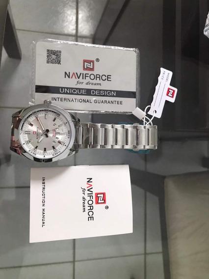 Relógio Naviforce Prata Quartzo Original 3atm M. 9038 No Br