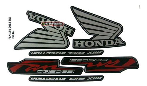 Kit Adesivo Jogo Faixas Moto Honda Fan 150 2013 Esi Preta