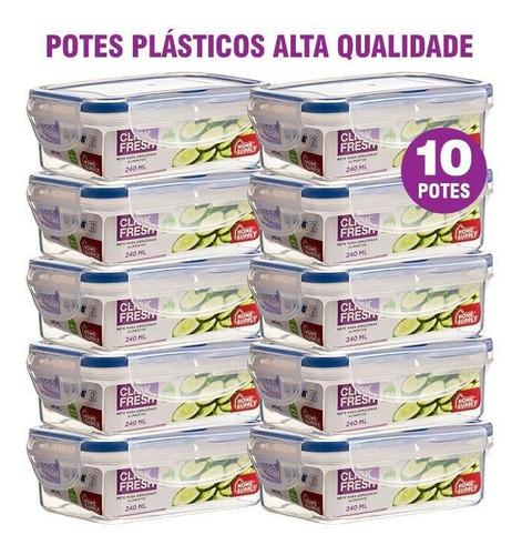 Imagem 1 de 2 de Kit 10 Potes Plásticos 100% Herméticos Qualidade Click Fresh