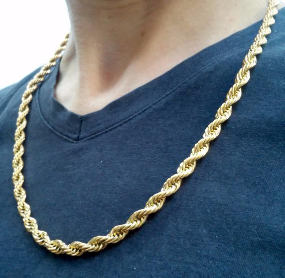 Corrente/cordão Trançado Aço Inox Cirúrgico Dourado Banhado