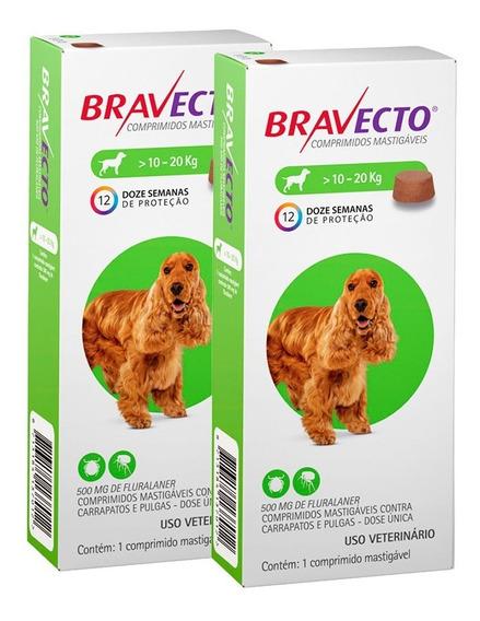 Bravecto Combo 2 Unid 500mg Comprimido Cães De 10 A 20kg