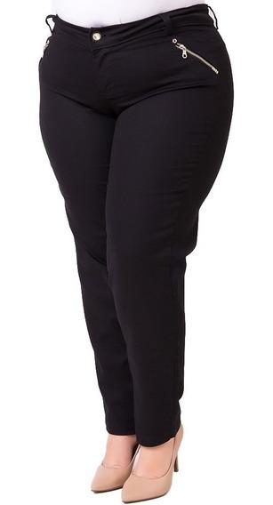 Calça Jeans Basica Com Elastano Lycra Preta Plus Size Crj283