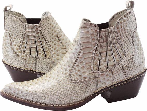 Bota Masculina Bico Fino Couro Anaconda Desenho Cobra