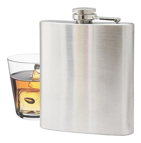 Cantil De Bolso Porta Bebida Aço Inox Whisky Vodka Rum 230m