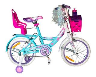 Bicicleta Stark Flowers 6094 Rodado 14 Nena Rueditas Canasto