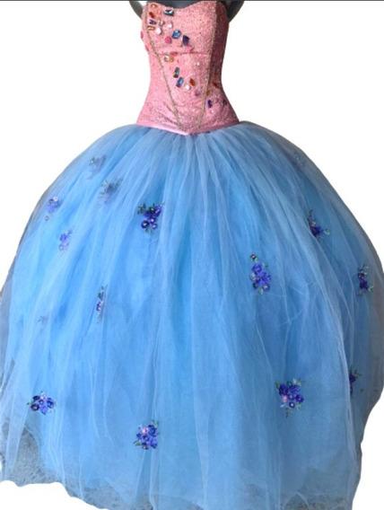 Vestido De Quince Xv Años Corset Rosa +pedreria Y Falda Azul