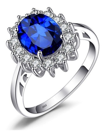 Anel Prata 925 Zircônia Azul De 13mm - Garantia Eterna