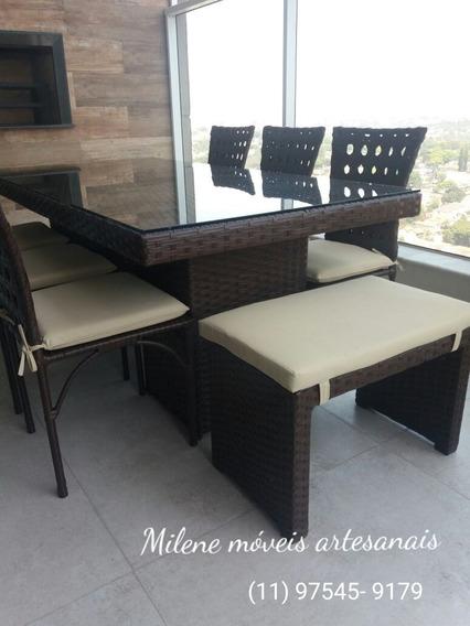 Mesa Riviera Com 4 Cadeiras E Dois Bancos Laterais