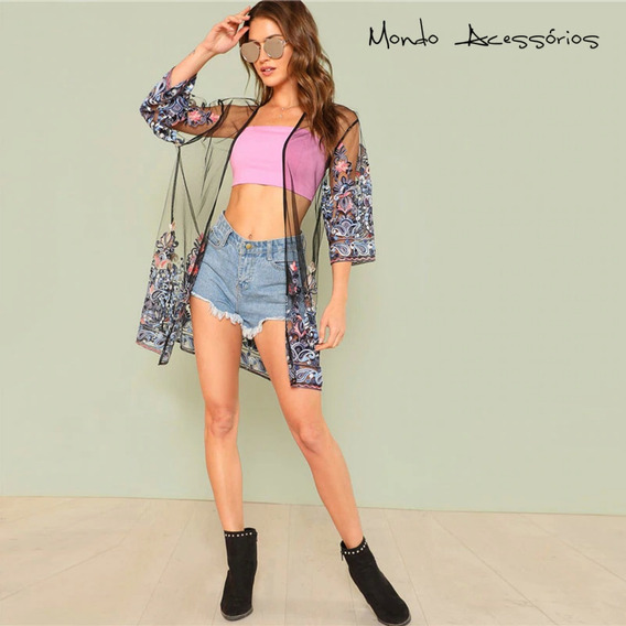 Blusa Tule Transparente Bordado Flores Instagram Blogueiras
