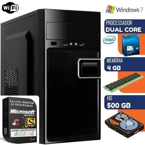 Computador Prime Intel Dual Core 4gb Hd 500gb Windows 7 Wifi