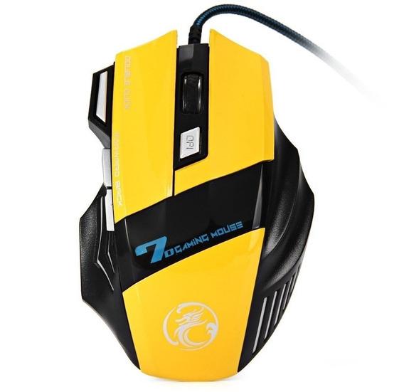 Mouse Óptico Estone Gaming X7 3200dpi Usb Amarelo 7 Botões (