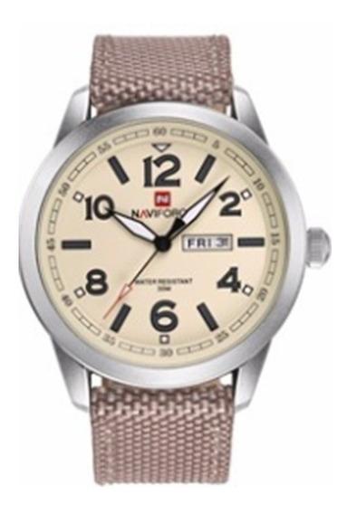 Relógio Naviforce 9101 Estilo Militar Pulseira Nylon Masc.