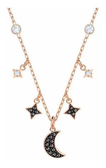 Collar Lunas Y Estrellas Oro Rosado Y Swarovski