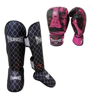 Kit Feminino Muay Thai Luva 10oz Caneleira Thunder Pulser