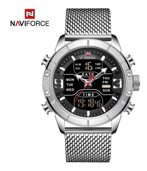Relógio Masculino Naviforce Nf 9153 Prata Original Promoção