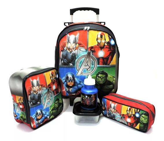 Kit Mochila Infantil Escolar Vingadores Advengers Hulk Homem De Ferro Capitao America Thor Rodinhas Tam M F5
