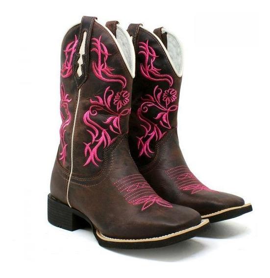 Bota Texana Country Bordada Rosa