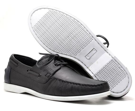 Sapato Masculino Dockside Couro Legitimo Preto