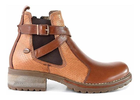 Bota Cuero Mujer Briganti Zapato Botineta Goma Mcbo24948 Vp