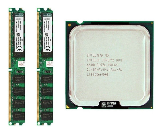 Kit Core 2 Duo E6600 775 + 4gb Memoria Ddr2 (2x2) 800mhz