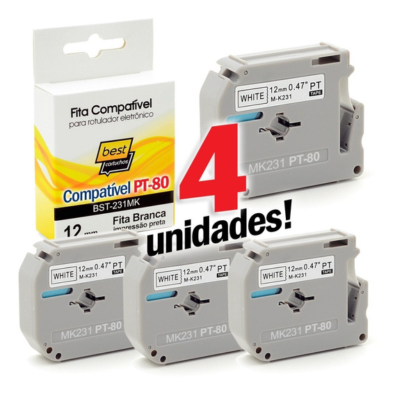 4x Fitas Compatível Brother Pt-80 Pt 80 M-k231 Mk231 M231