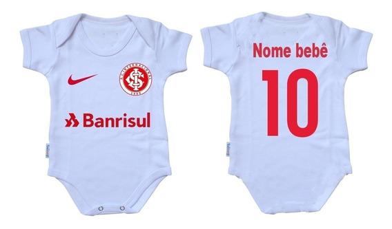 Roupa De Bebê Body Infantil Personalizado Com Nome E Número Time Inter Internacional Futebol Promoção