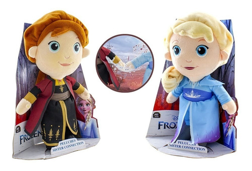 Imagen 1 de 5 de Combo Peluche Elsa Y Ana Frozen 2 De Disney